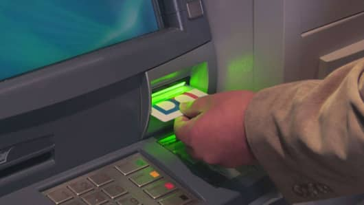 The new Diebold Nixdorf ATM takes the card sideways to try to defeat skimmers.