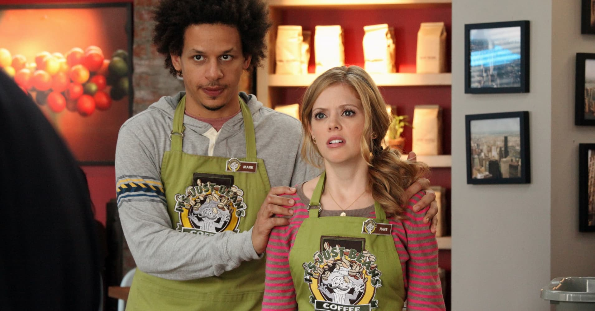 "Eric Andre and Dreama Walker in ABC's ""Don't Trust the B---- in Apartment 23."""