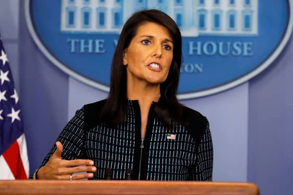 U.S. Ambassador to the UN, Nikki Haley speaks during the daily briefing at the White House in Washington, September 15, 2017.