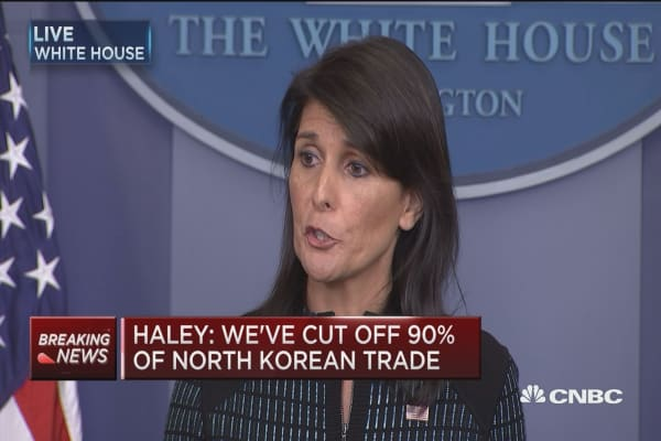 Amb. Nikki Haley: We have cut off 90% of trade going into North Korea