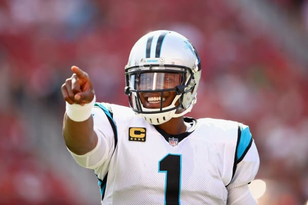 Cam Newton #1 of the Carolina Panthers points to the crowd in the fourth quarter of their game against the San Francisco 49ers at Levi's Stadium on September 10, 2017 in Santa Clara, California.