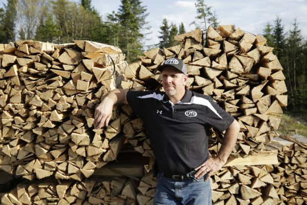 Paul Lancisi, founder of Dove Tail Bats, at his bat making facility in northern Maine.