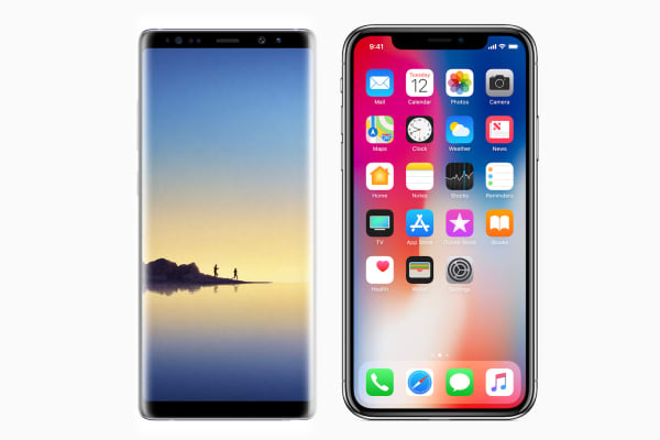 Samsung Galaxy Note 8 and Apple iPhone X