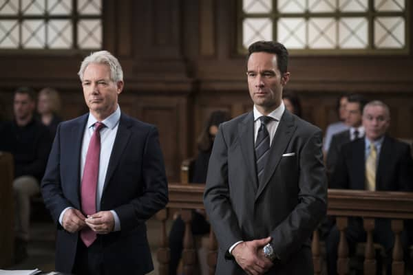 "LAW & ORDER: SPECIAL VICTIMS UNIT -- ""Know It All"" Episode 1814 --  Pictured: (l-r) Tim Ewing as Lawyer TK, Chris Diamantopoulos as Steven Willard -- (Photo by: Michael Parmelee/NBC)"