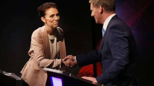 Bill English and Jacinda Ardern during a TV debate on August 31, 2017 in Auckland, New Zealand.