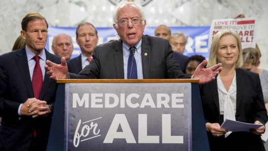 Senator Bernie Sanders, an independent from Vermont, speaks during a health care bill news conference on Capitol Hill in Washington, D.C., U.S., on Wednesday, Sept. 13, 2017.