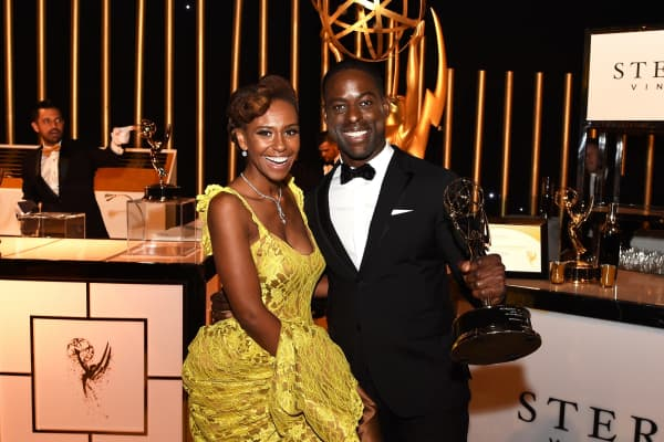 """This Is Us"" actors Ryan Michelle Bath (L) and actor Sterling K. Brown, winner of the award for Outstanding Lead Actor in a Drama Series for 'This is Us', attend the 69th Annual Primetime Emmy Awards."