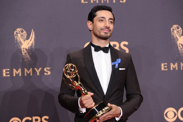 Actor Riz Ahmed poses in the press room at the 69th annual Primetime Emmy Awards at Microsoft Theater.