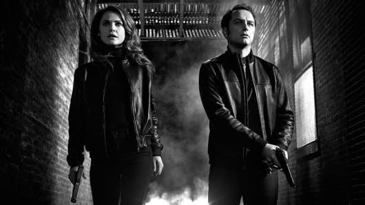 A scene from the Television show The Americans starring Matthew Rhys and Keri Russell.