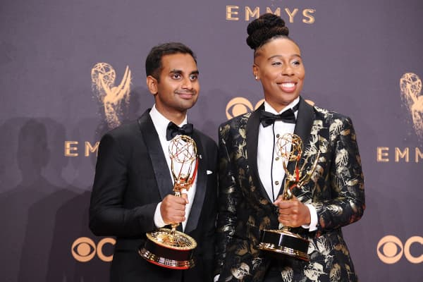Aziz Ansari and Lena Waithe pose in the press room at the 69th annual Primetime Emmy Awards at Microsoft Theater.