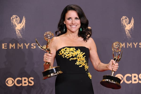 """Veep"" actress Julia Louis-Dreyfus poses in the press room at the 69th annual Primetime Emmy Awards at Microsoft Theater"