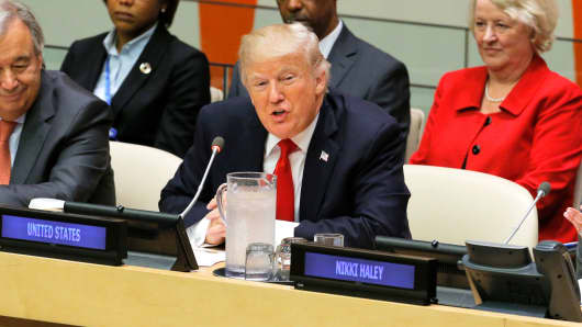 President Donald Trump speaks during a session on reforming the United Nations at U.N. Headquarters in New York, September 18, 2017.