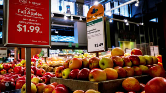 Apples are displayed at a Whole Foods store in New York City, August 28, 2017.