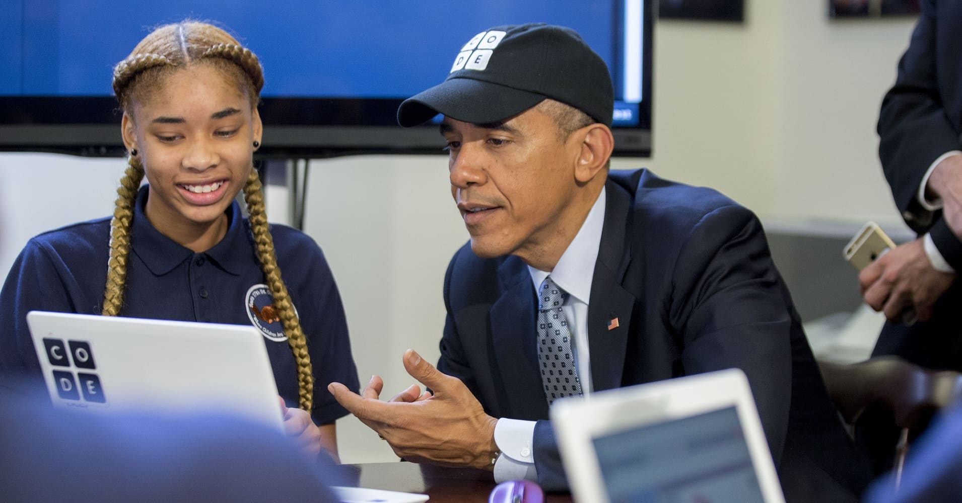 "Former President Barack Obama during 2014's ""Hour of Code"" event in honor of Computer Science Education Week."