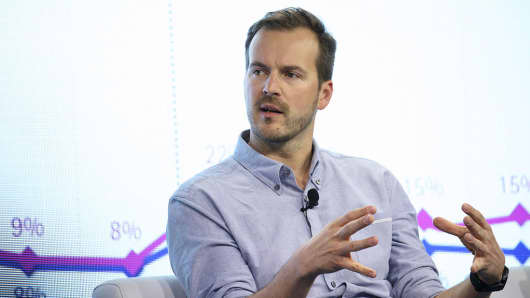 Taavet Hinrikus, co-founder and chair of TransferWise, at the WSJDLive Global Technology Conference in Laguna Beach, California on Oct. 25, 2016.