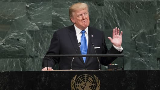 President Donald Trump addresses the 72nd Annual UN General Assembly in New York on September 19, 2017.