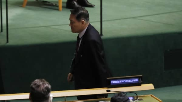 North Korea's Ambassador to the U.N., Ja Song Nam, leaves his seat prior to the arrival of U.S. President Donald Trump to address the 72nd United Nations General Assembly at U.N. Headquarters in New York, U.S., September 19, 2017.