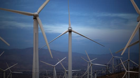 Electric energy generating wind turbines are seen on a wind farm in the San Gorgonio Pass area near Palm Springs, California.