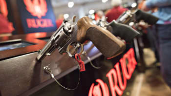 A revolver sits on display in the Sturm, Ruger & Co., Inc. booth on the exhibition floor of the 144th National Rifle Association (NRA) Annual Meetings and Exhibits.