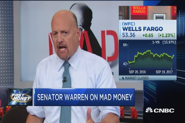 Here's what Senator Elizabeth Warren just told Jim Cramer about Wells Fargo