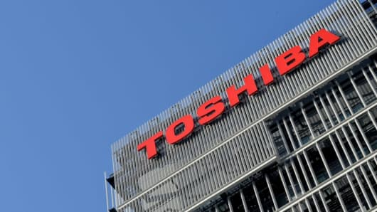 The logo of Toshiba Corp is seen at the company's facility in Kawasaki, south of Tokyo, Japan February 28, 2017.