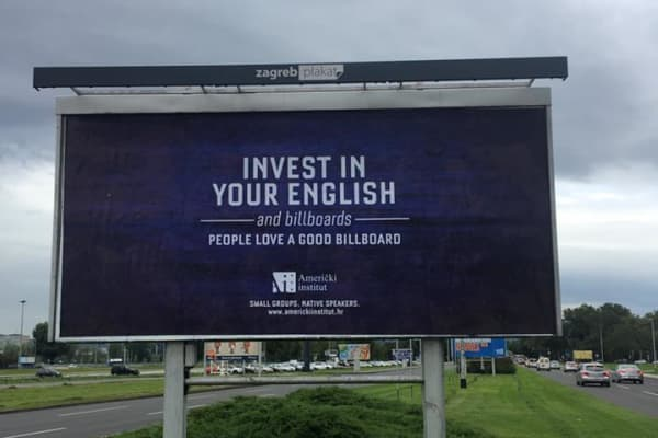 A new billboard poster for the American Institute in Zagreb, Croatia