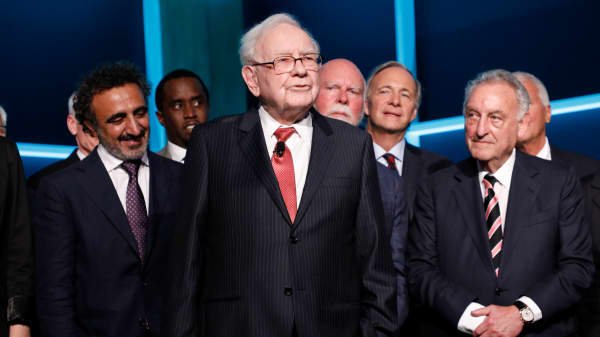 Hamdi Ulukaya, Sean Combs, Warren Buffett, Craig Venter, Ray Dalio, and Sandy Weill attend the Forbes Media Centennial Celebration at Pier 60 on September 19, 2017 in New York City.