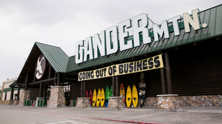 """A """"Going Out Of Business"""" banner at a Gander Mountain retail store in Houston, Texas, on May 28, 2017."""