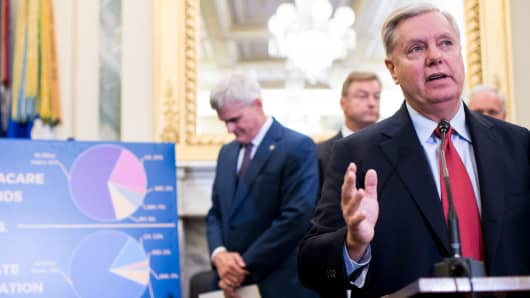 From left, Sens. Bill Cassidy, R-La., Dean Heller, R-Nev., Lindsey Graham, R-S.C., and Ron Johnson, R-Wis., discuss block grant funding for health care, Wednesday, Sept. 13, 2017.