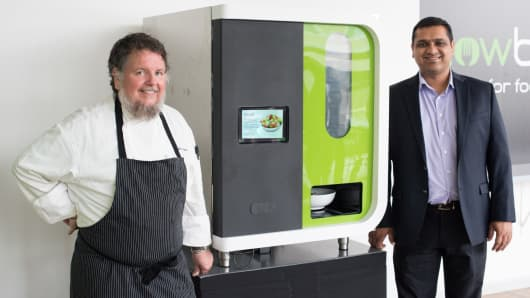 Chowbotics' executive chef Charlie Ayers and CEO Deepak Sekar
