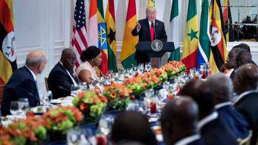 President Donald Trump speaks before a luncheon with US and African leaders at the Palace Hotel during the 72nd United Nations General Assembly on September 20, 2017 in New York.