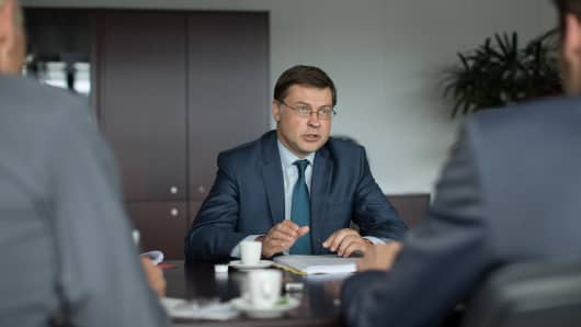 Valdis Dombrovskis, vice president of the European Commission and the European Union (EU) commissioner for financial-services policy is helping to drive through a new set of rules for Europe's financial sector.