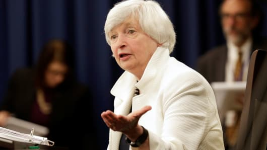 Federal Reserve Chairman Janet Yellen speaks during a news conference after a two-day Federal Open Markets Committee (FOMC) policy meeting in Washington, September 20, 2017.