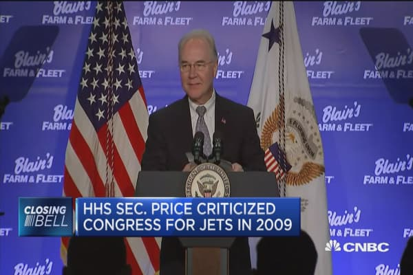 HHS Sec'y Tom Price uses private jets for US trips