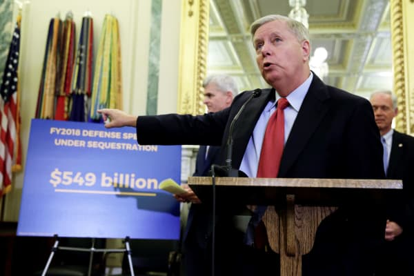 "Senator Lindsey Graham (R-SC) speaks during a news conference on ""the Graham-Cassidy-Heller-Johnson proposal to reform healthcare"" on Capitol Hill in Washington, September 13, 2017."