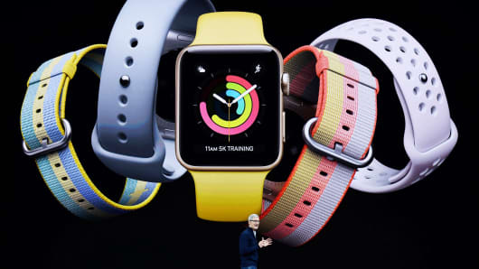 Apple CEO Tim Cook introduces Apple Watch during the Apple launch event on September 12, 2017 in Cupertino, California.