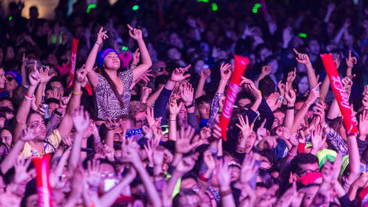 Attendees at Storm Festival, an electronic dance music festival, in Shanghai, China.