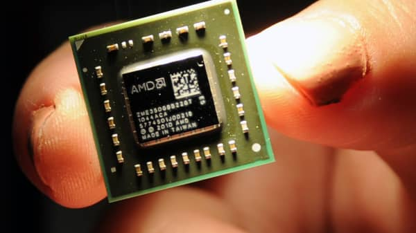 A chip the size of a coin, used in central processing units and a graphic processing units developed by the US-headquartered Advanced Micro Devices (AMD).
