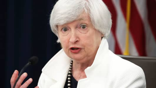 Former Federal Reserve Board Chairwoman Janet Yellen speaks during a news conference following a meeting of the Federal Open Market Committee September 20, 2017 in Washington, DC.