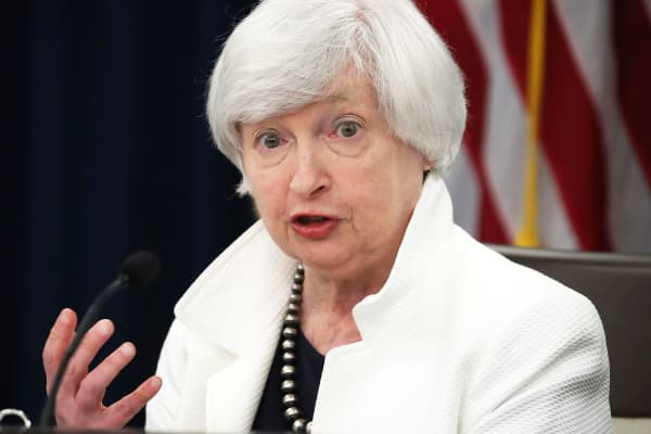 Federal Reserve Board Chairwoman Janet Yellen speaks during a news conference following a meeting of the Federal Open Market Committee September 20, 2017 in Washington, DC.