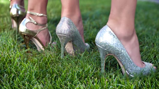 Solemates heel protectors prevent high heels from sinking into grass.