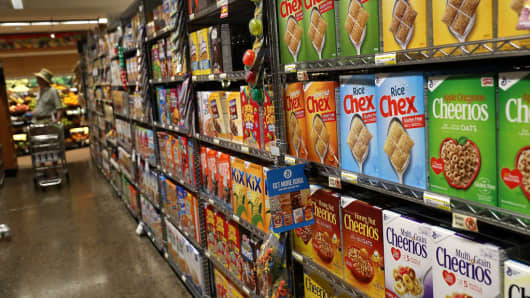 Boxes of General Mills brand cereals are displayed at Scotty's Market on September 20, 2017 in San Rafael, California.