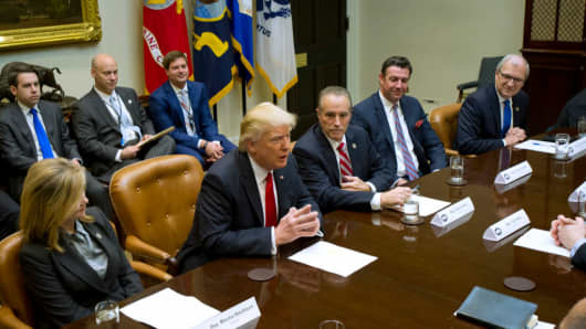 President Donald Trump participates in a congressional listening session with GOP members in the White House February 16, 2017 in Washington, DC.