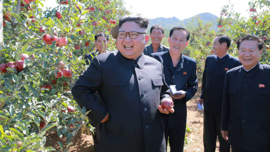 North Korean leader Kim Jong Un gives field guidance during a visit to a fruit orchard in Kwail county, South Hwanghae province.