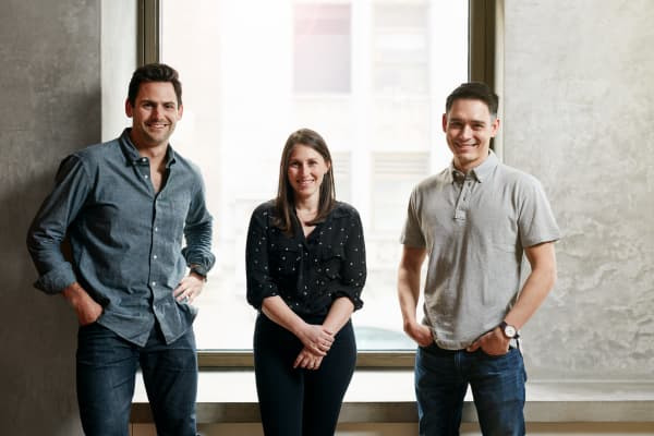 Plated cofounders Nick Taranto, Elana Karp and Josh Hix (L to R).