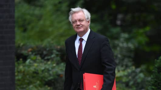 Brexit Secretary David Davis arriving in Downing Street, London, for a Cabinet meeting.