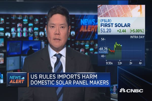 US rules imports harm domestic solar panel makers