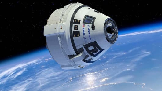 An artist concept shows Boeing's Crew Space Transportation (CST)-100 Starliner flying in space.