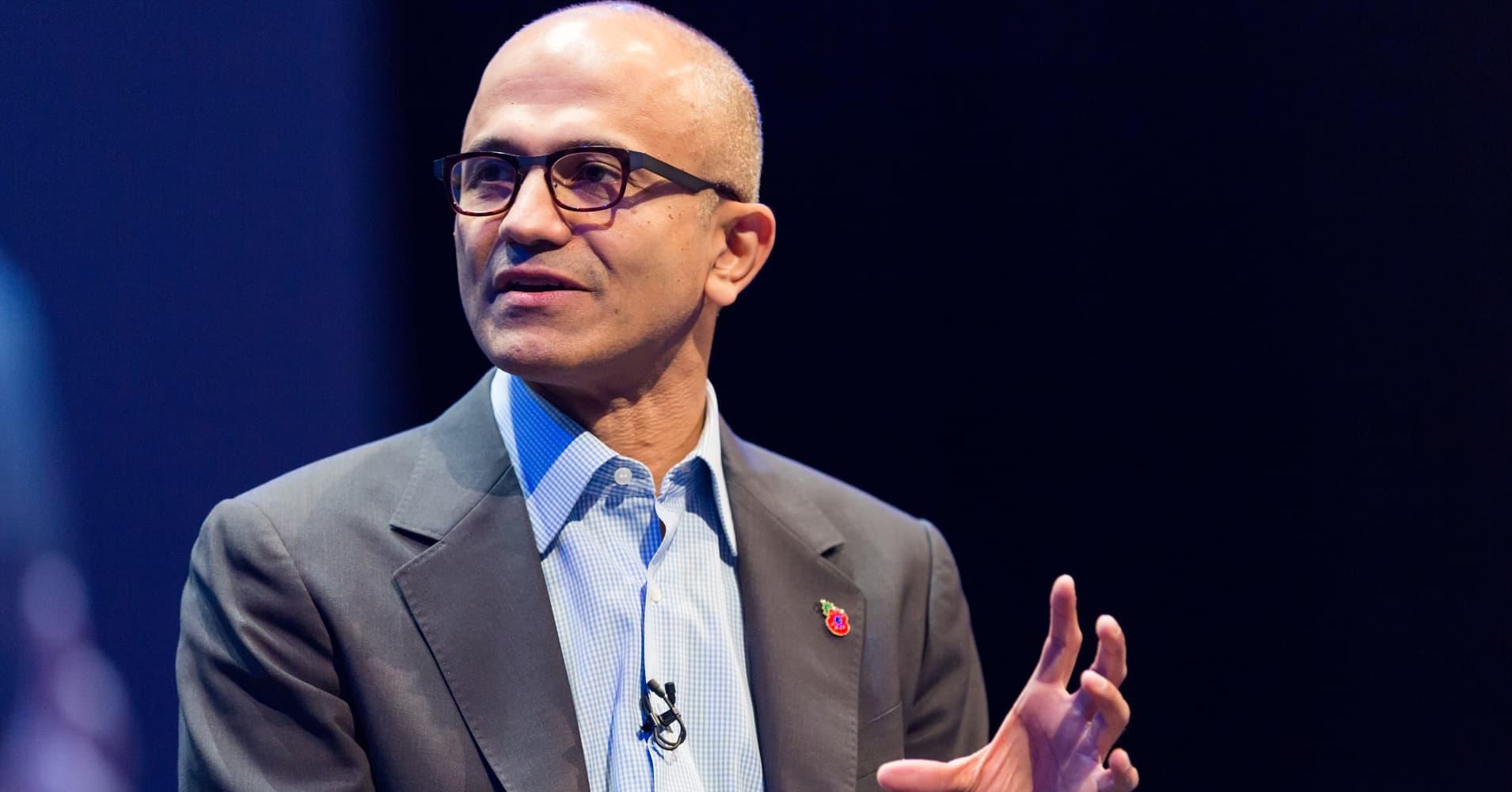 Microsoft CEO Satya Nadella at a company conference in 2014.