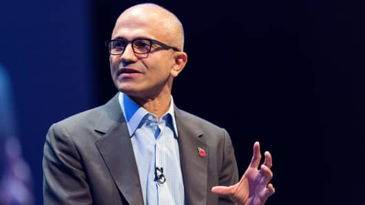 Microsoft CEO Satya Nadella at a company conference in 2014.
